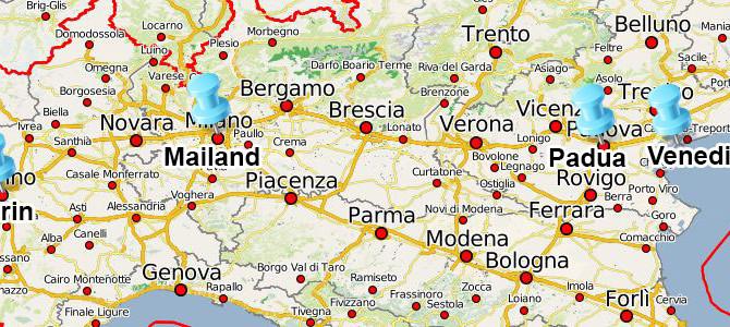 Touristische und religiöse Zentren Norditaliens